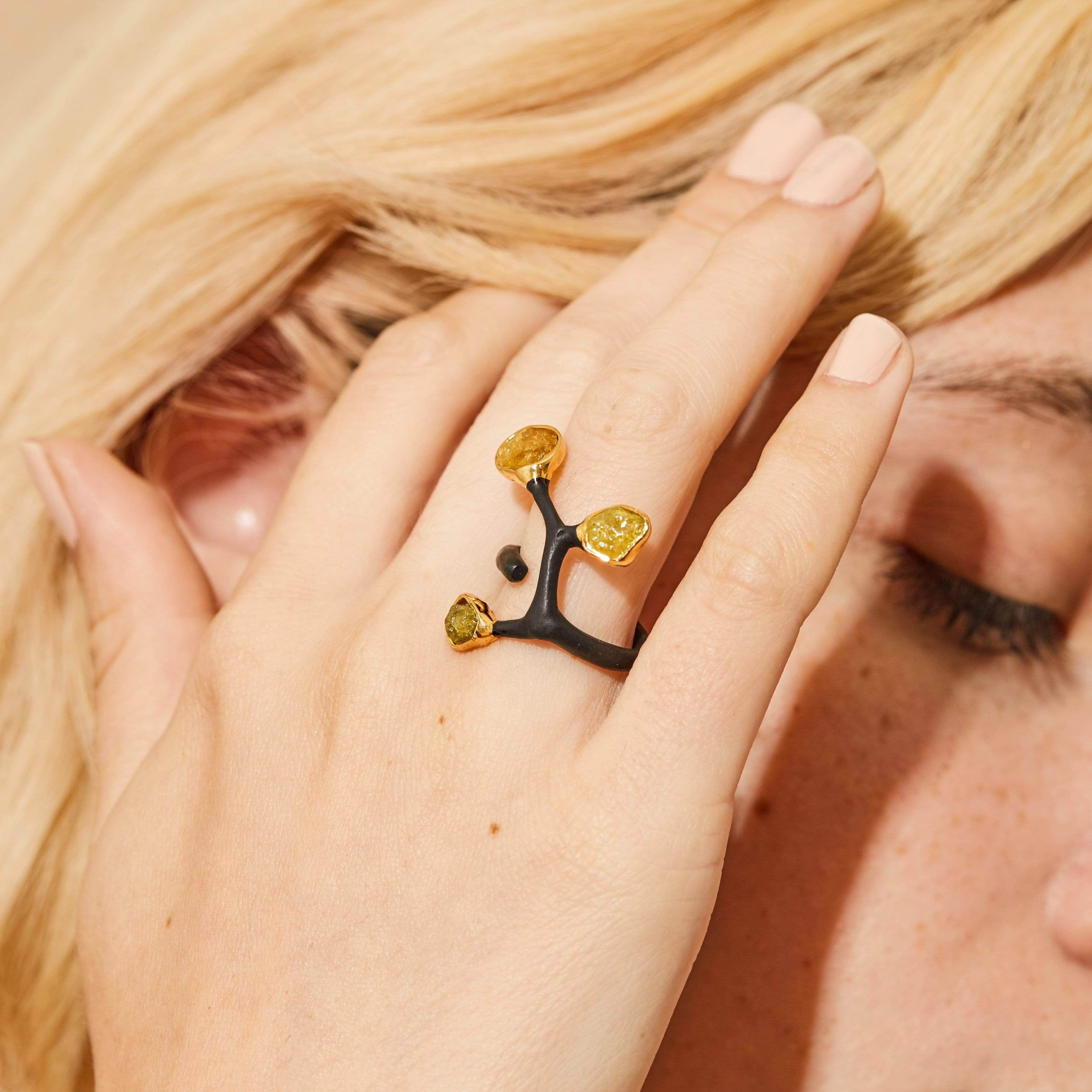 Radella Amber Ring, Anthracite, black, Chrysoberyl, Gold, Handmade, spo-disabled, StoneColor:Yellow, Style:Fantasy, Type:BlackAnthracite, Type:StoneCandyOut Ring