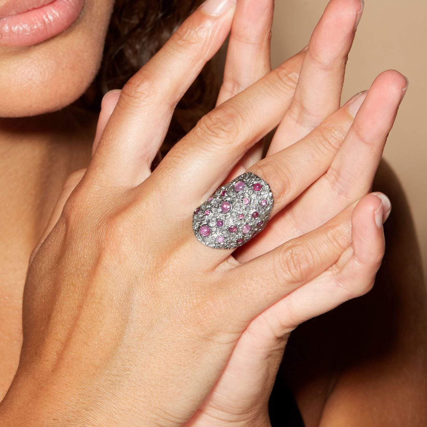 Eryma Ring, gray, Handmade, Rhodium, Ruby, spo-disabled, StoneColor:PinkRuby, Style:Everyday, Type:StoneCandyScattered Ring