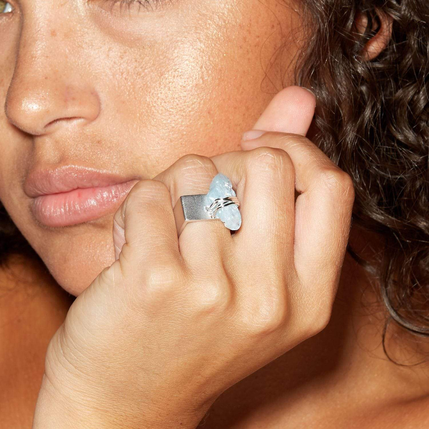 Tutela Ring, Aquamarine, Handmade, Rhodium, silver, spo-disabled, StoneColor:Blue, Style:Statement, Type:LargeSoloStone Ring