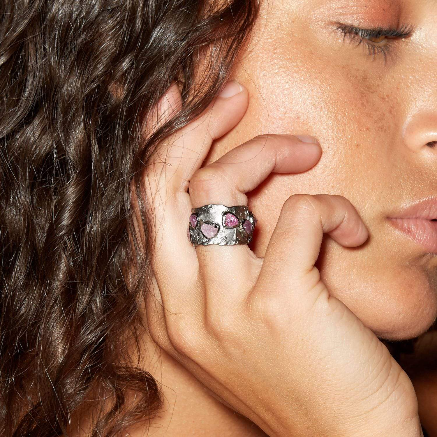 Metina Ring, gray, Handmade, Rhodium, Sapphire, spo-disabled, StoneColor:Pink, Style:Everyday, Type:StoneCandyScattered Ring