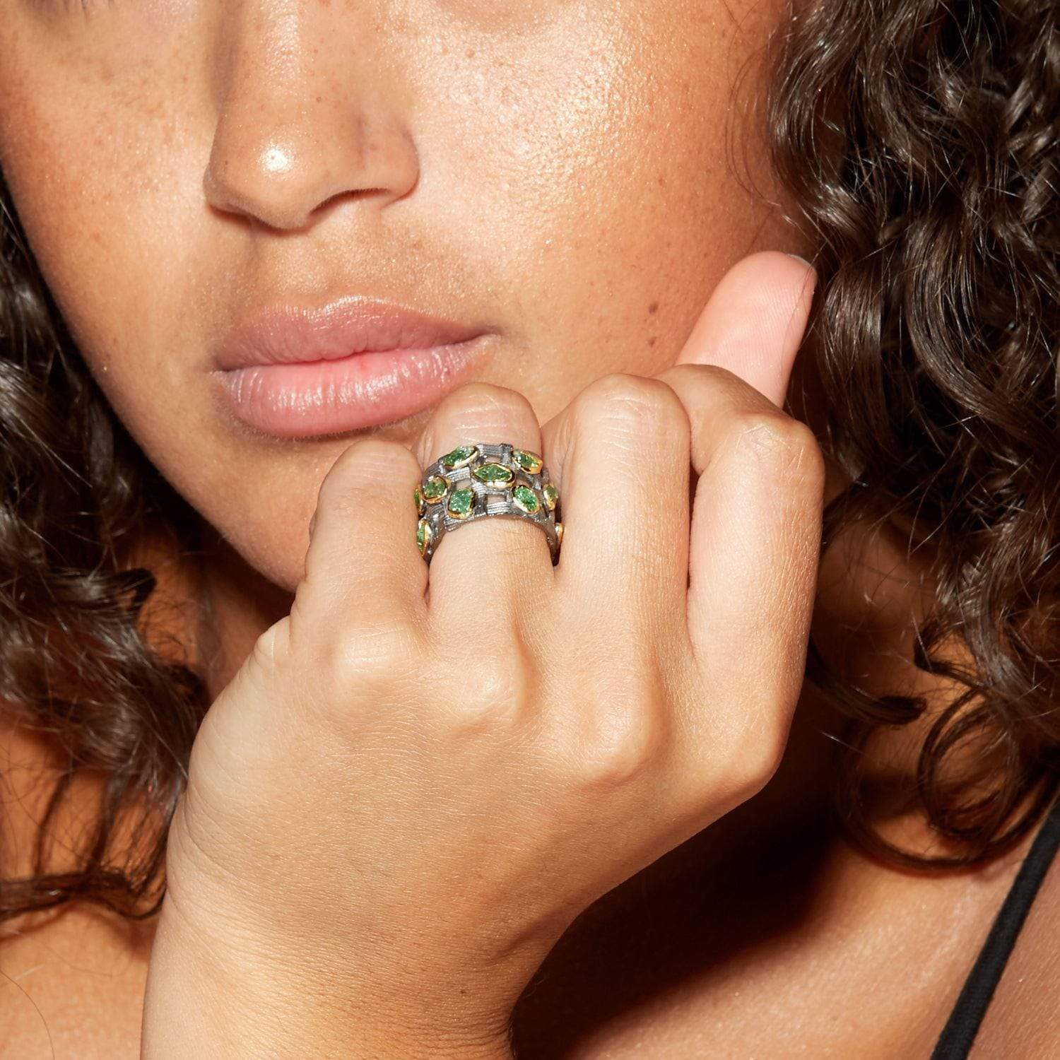 Jerden Ring, Gold, gray, Handmade, Rhodium, spo-disabled, StoneColor:Green, Style:Everyday, Tsavorite, Type:StoneCandyScattered Ring
