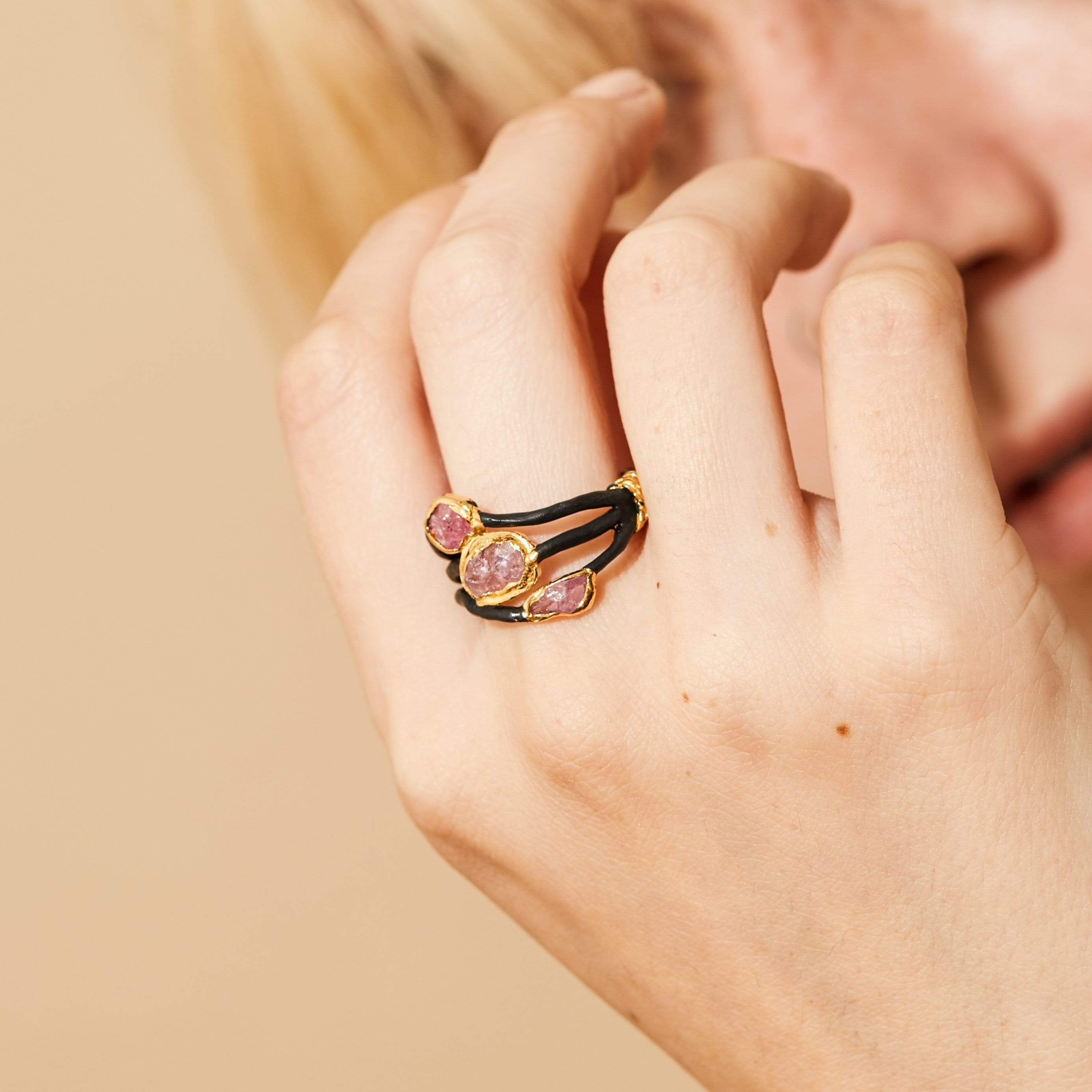 Dareene Ring, Anthracite, black, Gold, Handmade, Ruby, spo-disabled, StoneColor:PastelColor, StoneColor:Pink, Style:Delicate, Type:BlackAnthracite, Type:StoneCandyDelicate Ring