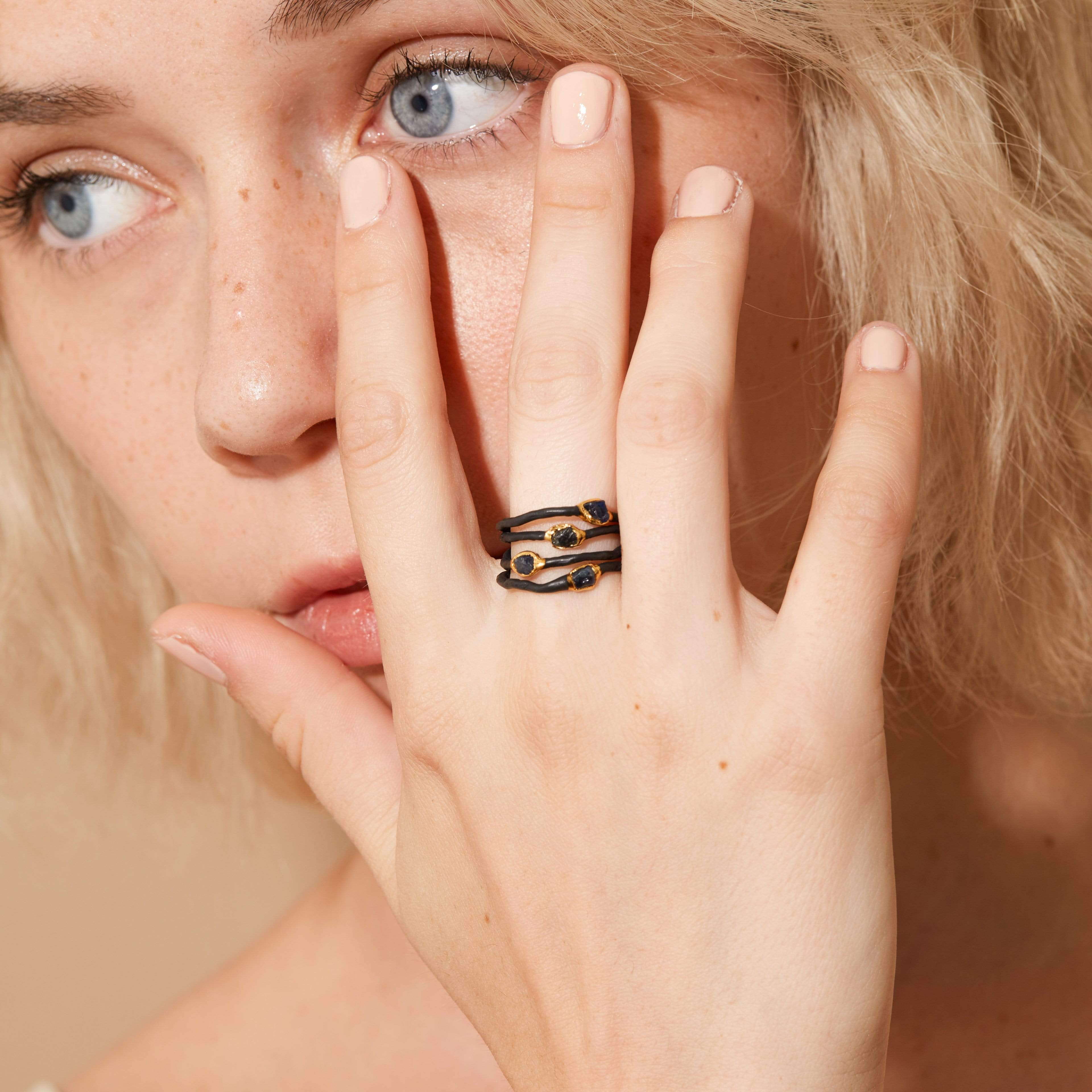 Honbria Blue Ring, Anthracite, black, Gold, Handmade, Sapphire, spo-disabled, StoneColor:DeepBlue, Style:Delicate, Type:BlackAnthracite, Type:StoneCandyDelicate Ring