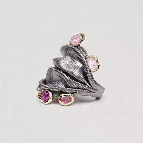 Vail Ring, Gold, gray, Handmade, Rhodium, Ruby, spo-disabled, StoneColor:PinkRuby, Style:Everyday, Type:Jokers Ring