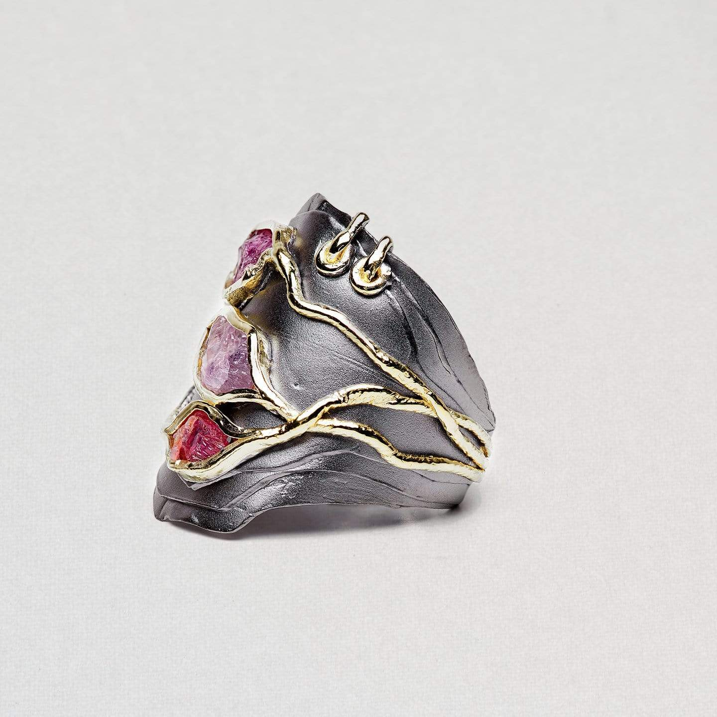 Cerelia Ring, Gold, gray, Handmade, Rhodium, Ruby, spo-disabled, StoneColor:PinkRuby, Style:Everyday, Type:StoneCandyWired Ring