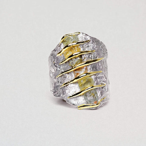Erline Ring, Chrysoberyl, Gold, Handmade, Rhodium, silver, spo-disabled, StoneColor:Yellow, Style:Everyday, Type:StoneCandyWired Ring
