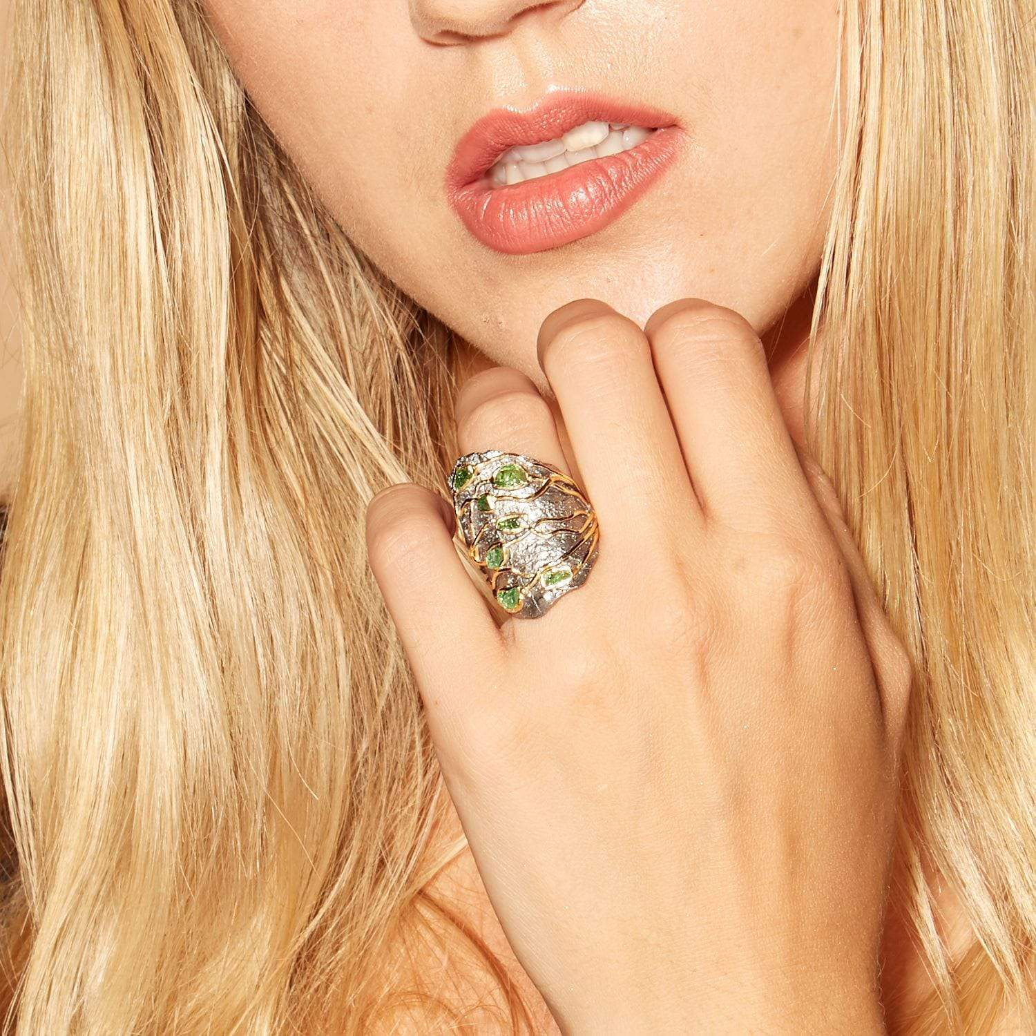 Claiborne Ring, Gold, gray, Handmade, Rhodium, spo-disabled, StoneColor:Green, Style:Everyday, Tsavorite, Type:StoneCandyWired Ring