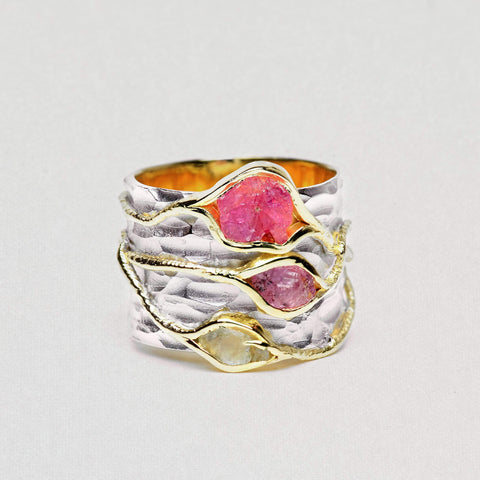 Cleva Ring, Gold, Handmade, Rhodium, silver, Spinel, spo-disabled, StoneColor:Pink, Style:Everyday, Type:StoneCandyWired Ring
