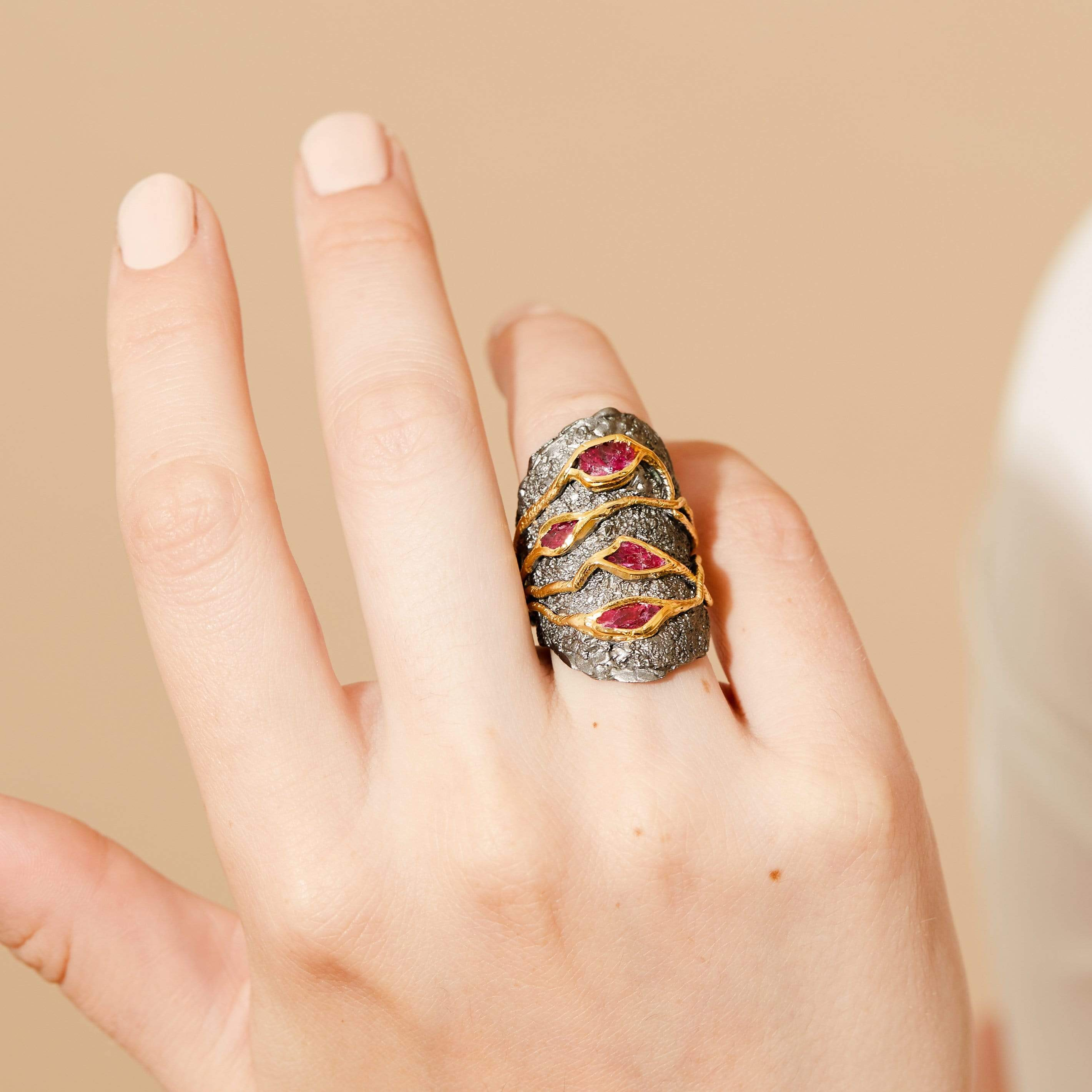 Edlyn Ring, Gold, gray, Handmade, Rhodium, Ruby, spo-disabled, StoneColor:PinkRuby, Style:Everyday, Type:StoneCandyWired Ring