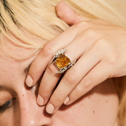 Ardenia Ring, Citrine, Gold, Handmade, Rhodium, silver, spo-disabled, StoneColor:Orange, Style:Statement, Type:LargeSoloStone Ring