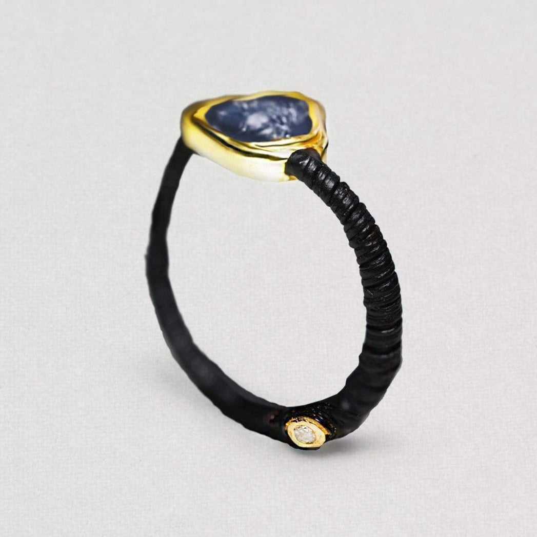 Salal Ring, Anthracite, black, Gold, Handmade, Sapphire, spo-disabled, StoneColor:DeepBlue, Style:Delicate, Topaz, Type:BlackAnthracite, Type:StoneCandyDelicate Ring