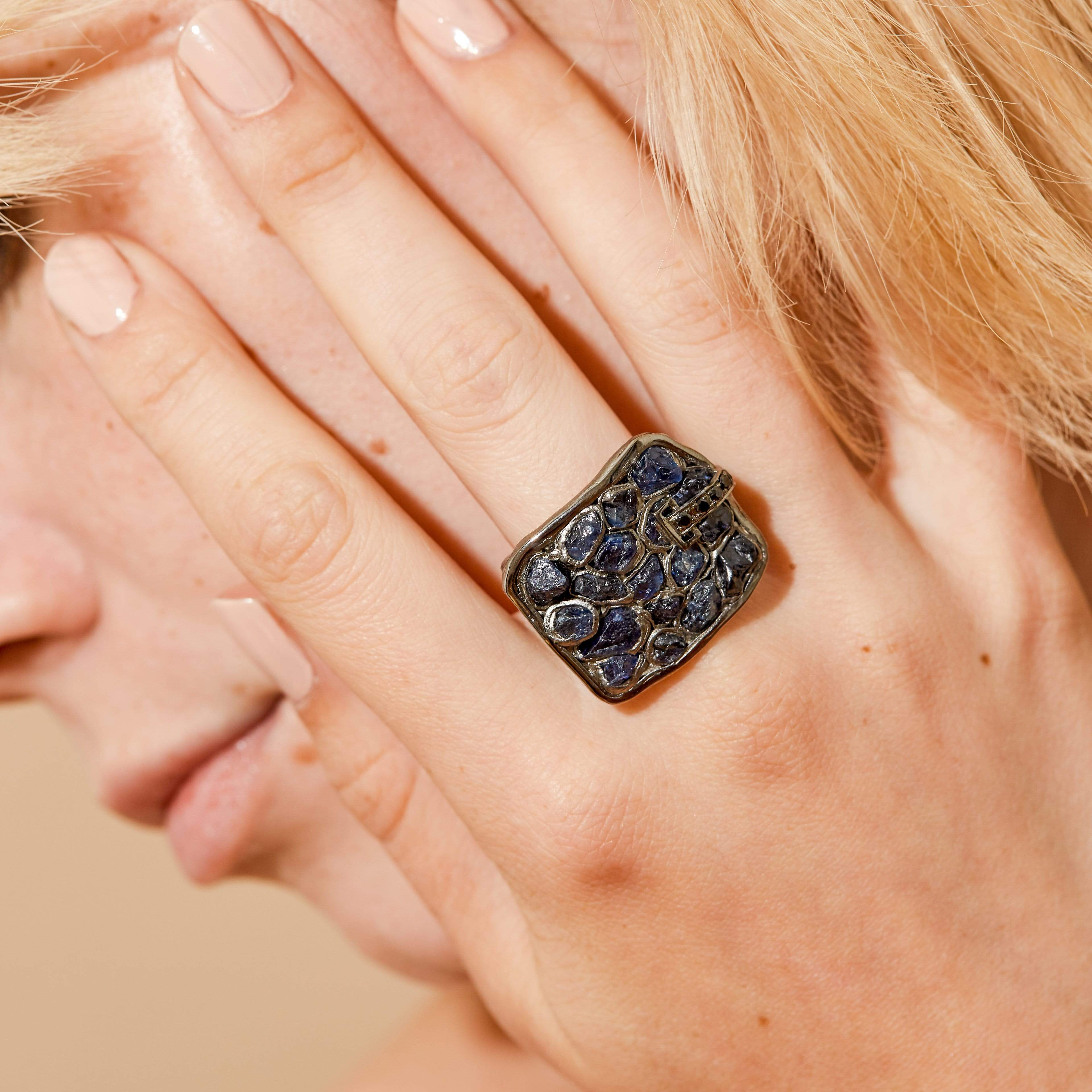 Neith Ring, gray, Handmade, Rhodium, Sapphire, Spinel, spo-disabled, StoneColor:DeepBlue, Style:Everyday, Type:StainedGlass Ring
