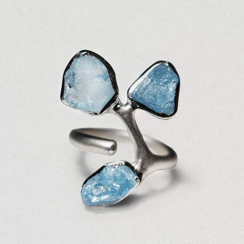Dannia Ring, Aquamarine, Handmade, Rhodium, silver, spo-disabled, StoneColor:Blue, Style:Fantasy, Type:Garden, Type:StoneCandyOut Ring