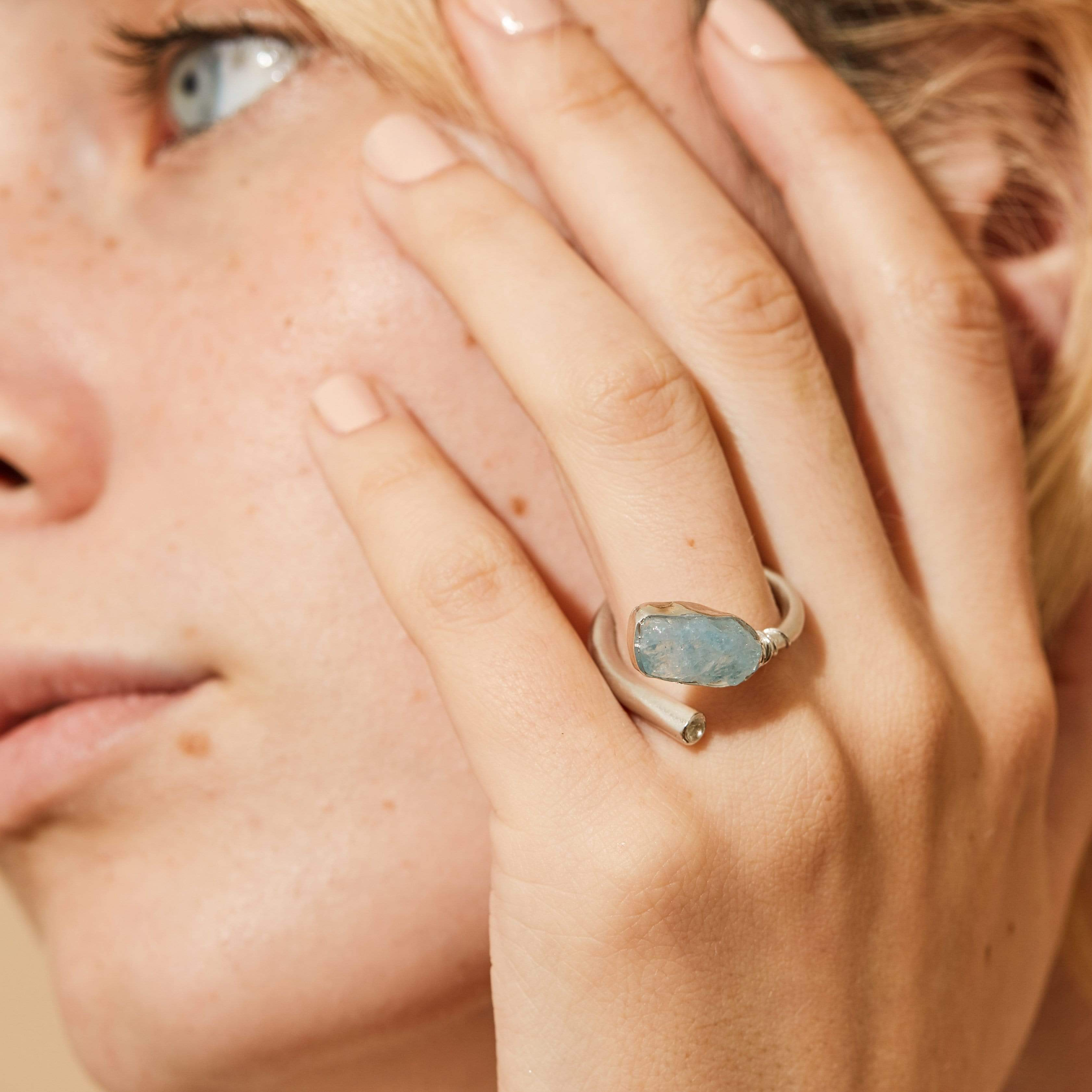 Hefina Ring, Aquamarine, Handmade, Rhodium, silver, spo-disabled, StoneColor:Blue, Style:Delicate, Topaz, Type:LargeSoloStone Ring