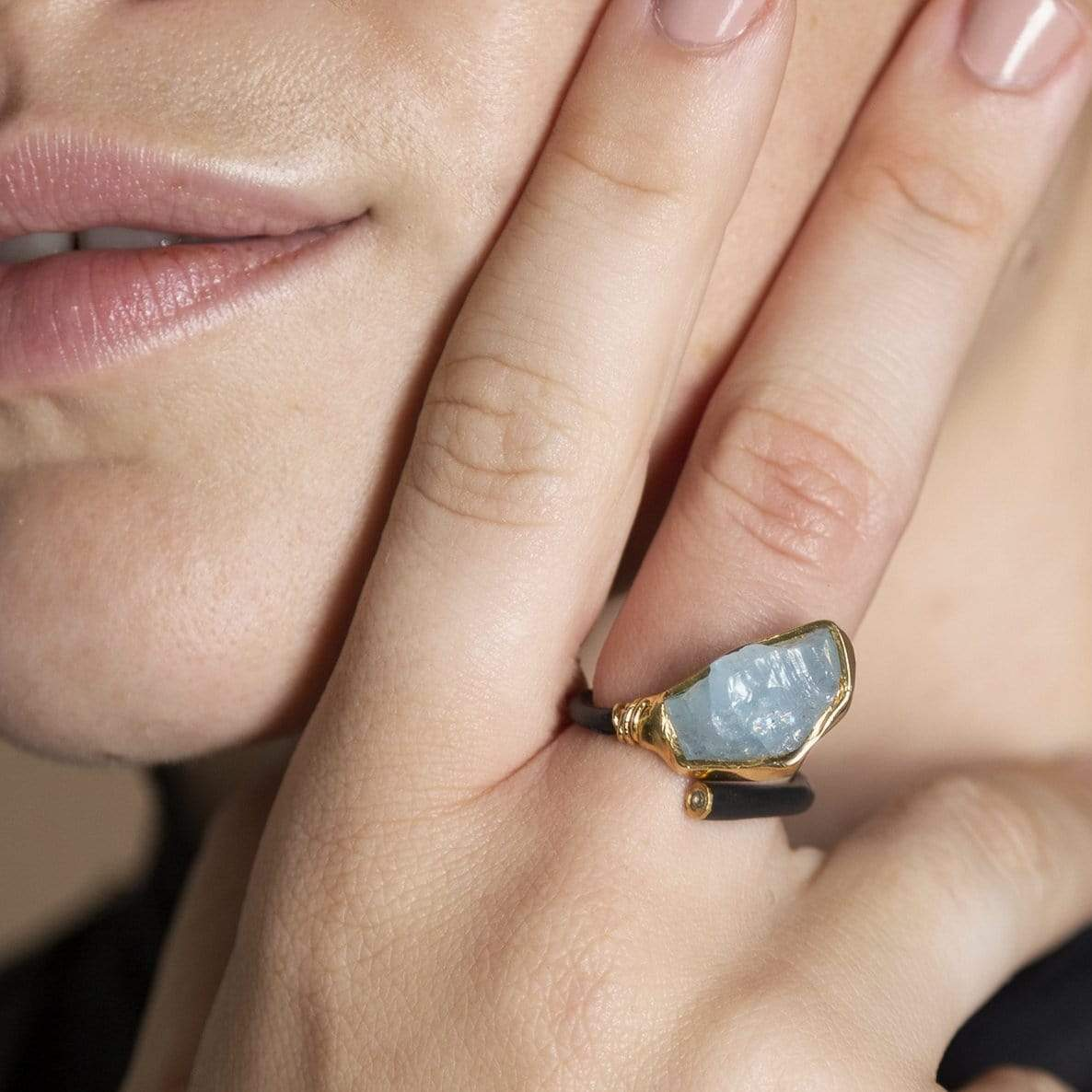 Hefina Black Ring, Anthracite, Aquamarine, black, Gold, Handmade, spo-disabled, StoneColor:Blue, Style:Delicate, Topaz, Type:LargeSoloStone Ring