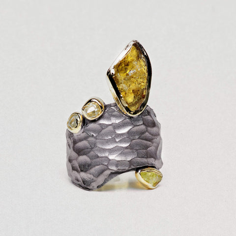 Auriar Ring, Chrysoberyl, Gold, gray, Handmade, Rhodium, spo-disabled, StoneColor:Yellow, Style:Everyday, Type:Jokers Ring