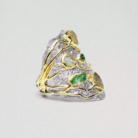 Evania Ring, Gold, Handmade, Rhodium, Sapphire, silver, spo-disabled, StoneColor:Green, StoneColor:Yellow, Style:Everyday, Tsavorite, Type:StoneCandyWired Ring