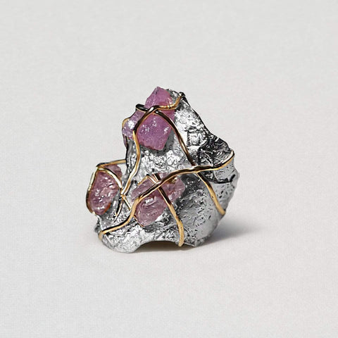 Carmya Ring, Gold, Handmade, Rhodium, silver, Spinel, spo-disabled, StoneColor:PastelColor, Style:Everyday, Type:StoneCandyWired Ring