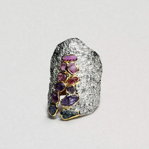Alane Ring, Gold, gray, Handmade, Rhodium, Sapphire, spo-disabled, StoneColor:Pink, Style:Everyday, Type:StoneCandyScattered Ring