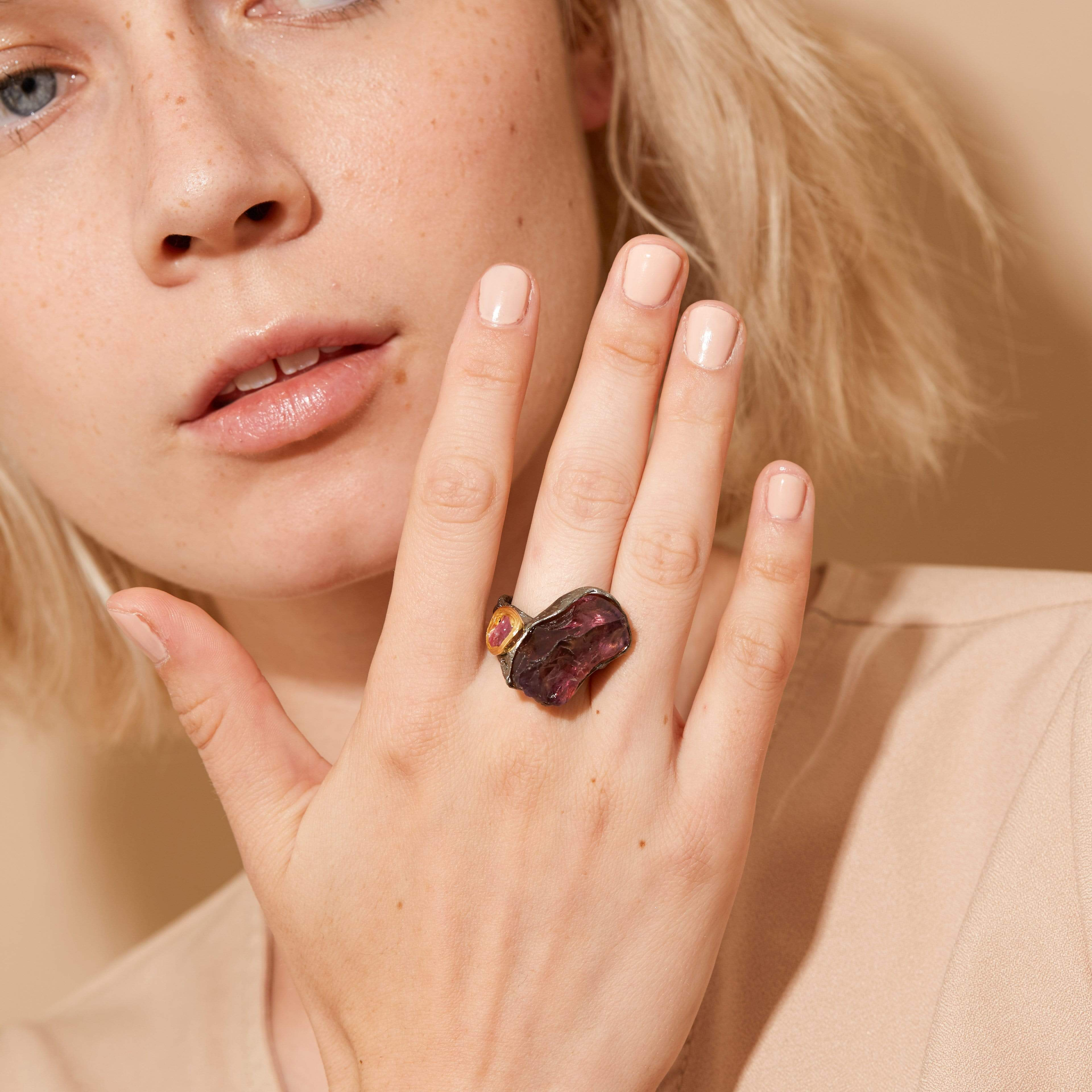 Olwen Ring, Amethyst, Gold, gray, Handmade, Rhodium, Ruby, spo-disabled, StoneColor:Red, Style:Statement, Type:LargeSoloStone Ring