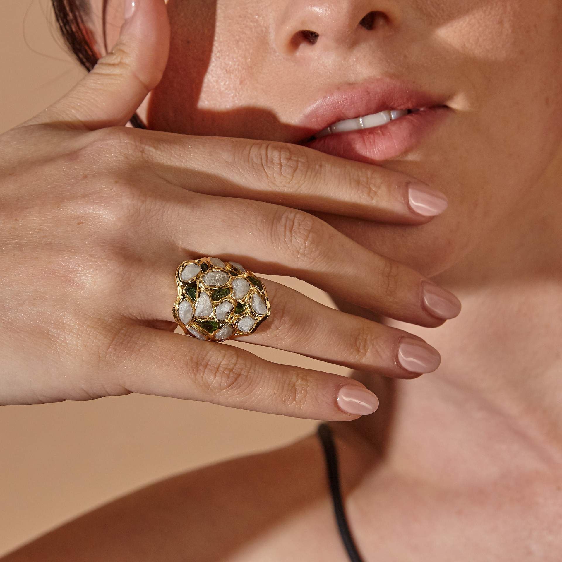 Nerissa White Sapphire and Chrome Diopside Ring