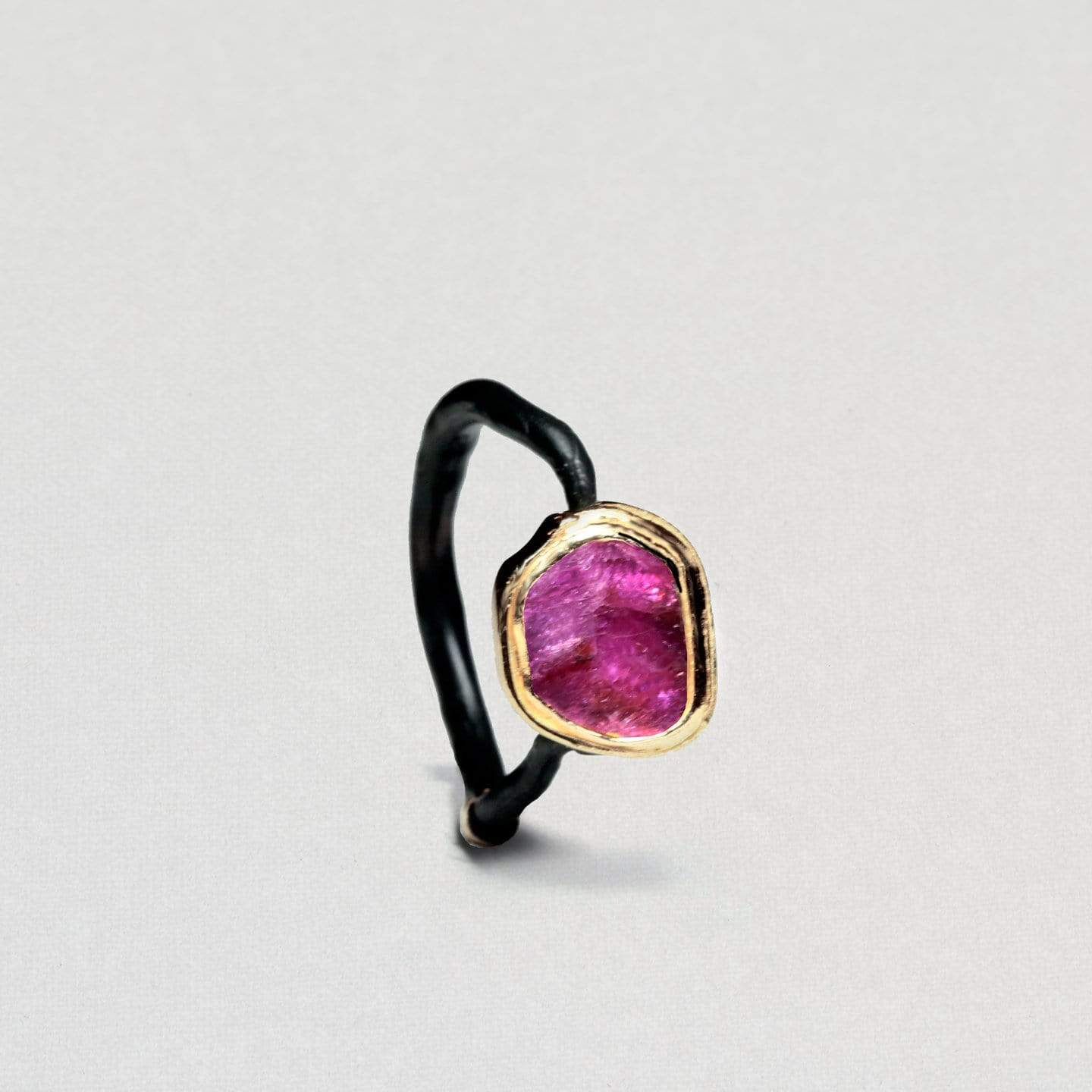 Lamia Ruby Ring, Anthracite, black, Gold, Handmade, Ruby, spo-disabled, StoneColor:PinkRuby, Style:Delicate, Type:BlackAnthracite, Type:StoneCandyDelicate Ring