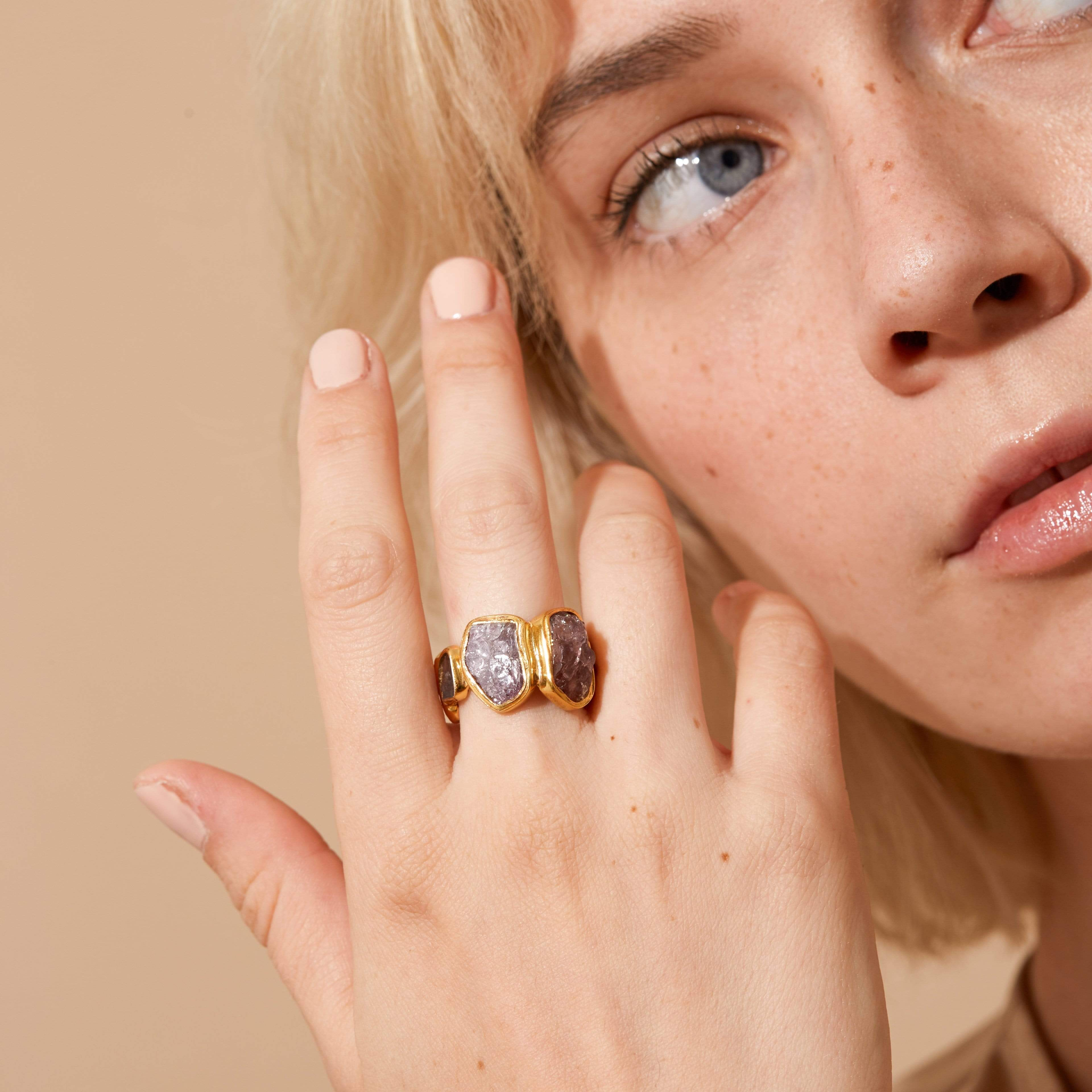 Ondine Pink Ring, Gold, Handmade, Sapphire, spo-disabled, StoneColor:Pink, Style:Delicate, Type:StoneCandyDelicate Ring