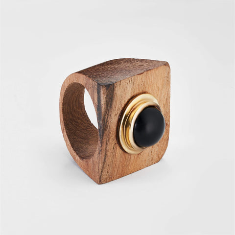 Mithrana Black Onyx Wood Ring