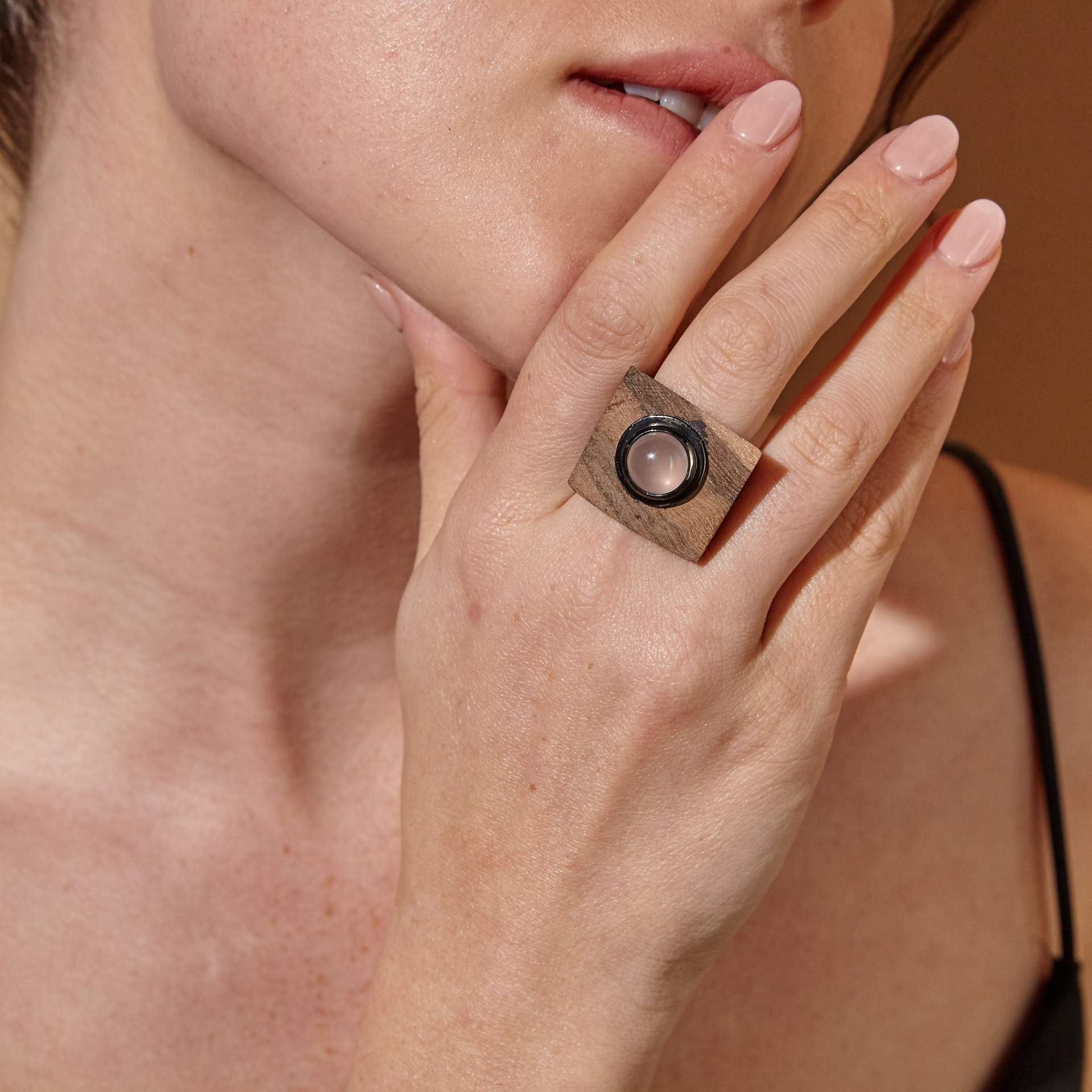 Mithrana Rose Quartz Wood Ring