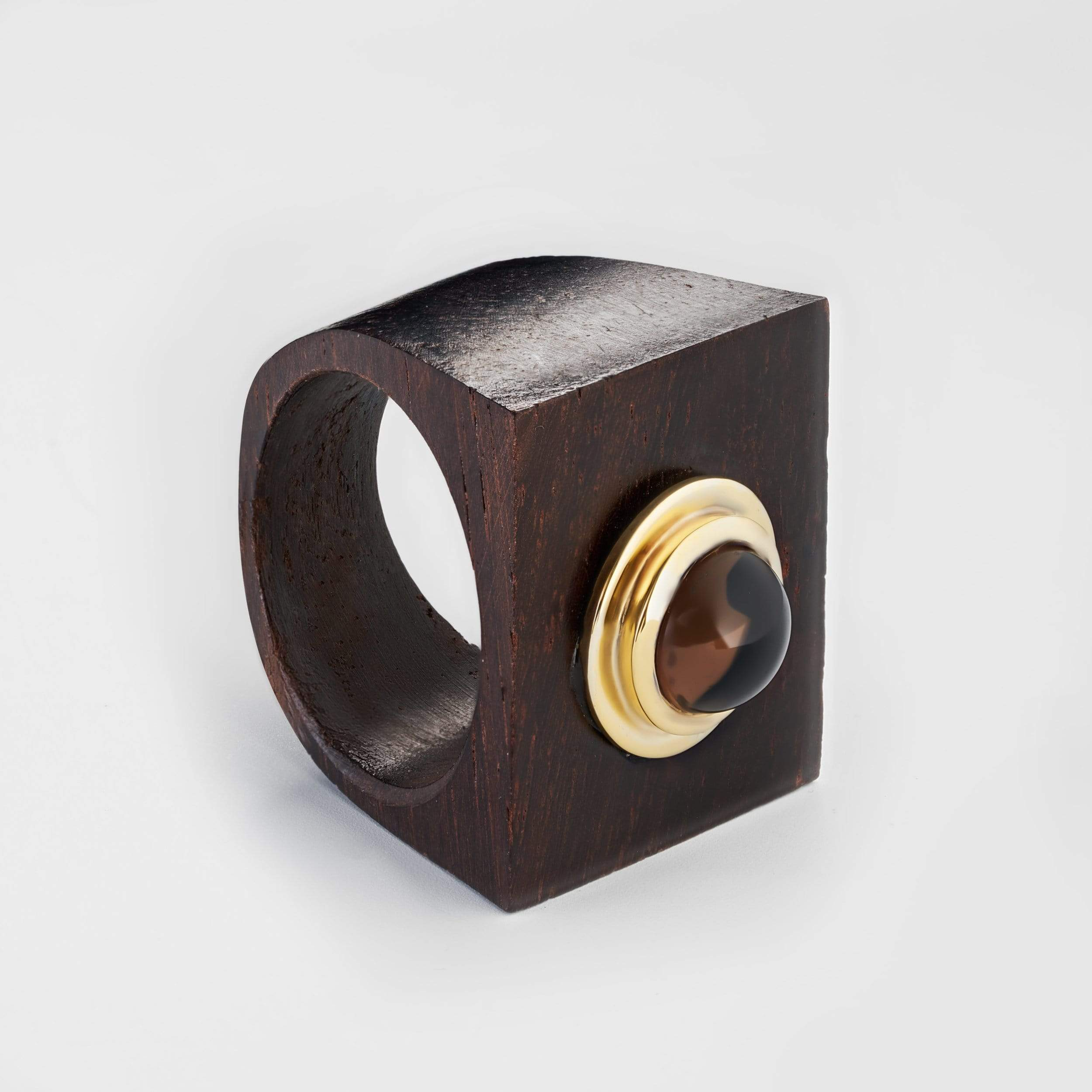 Tashna Smokey Quartz Wood Ring