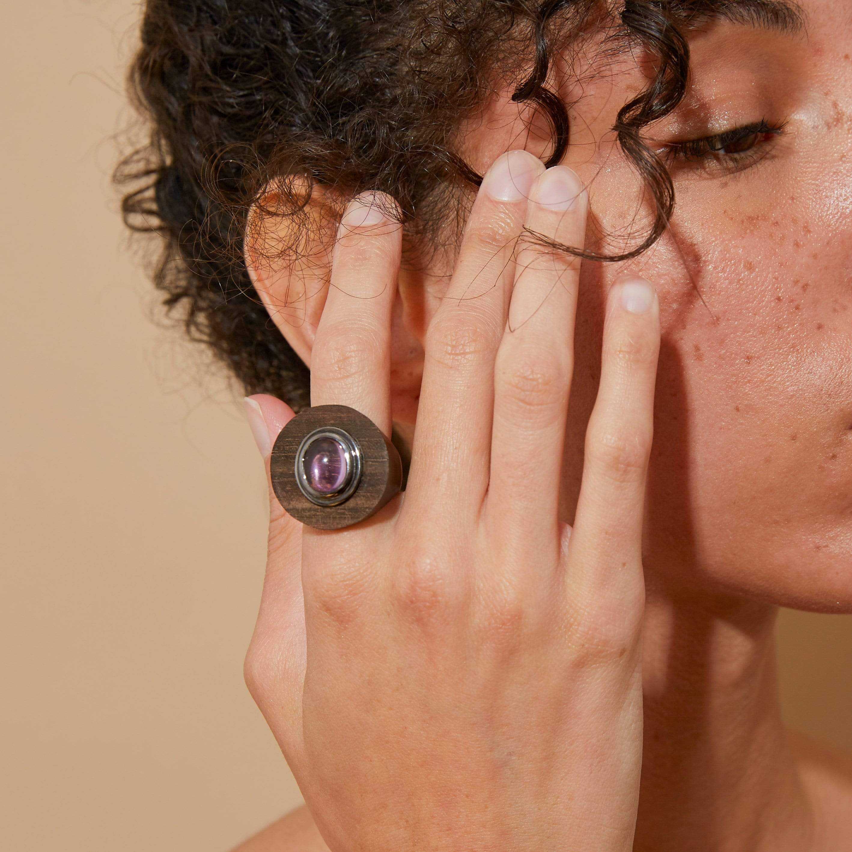Daha Amethyst Wood Ring