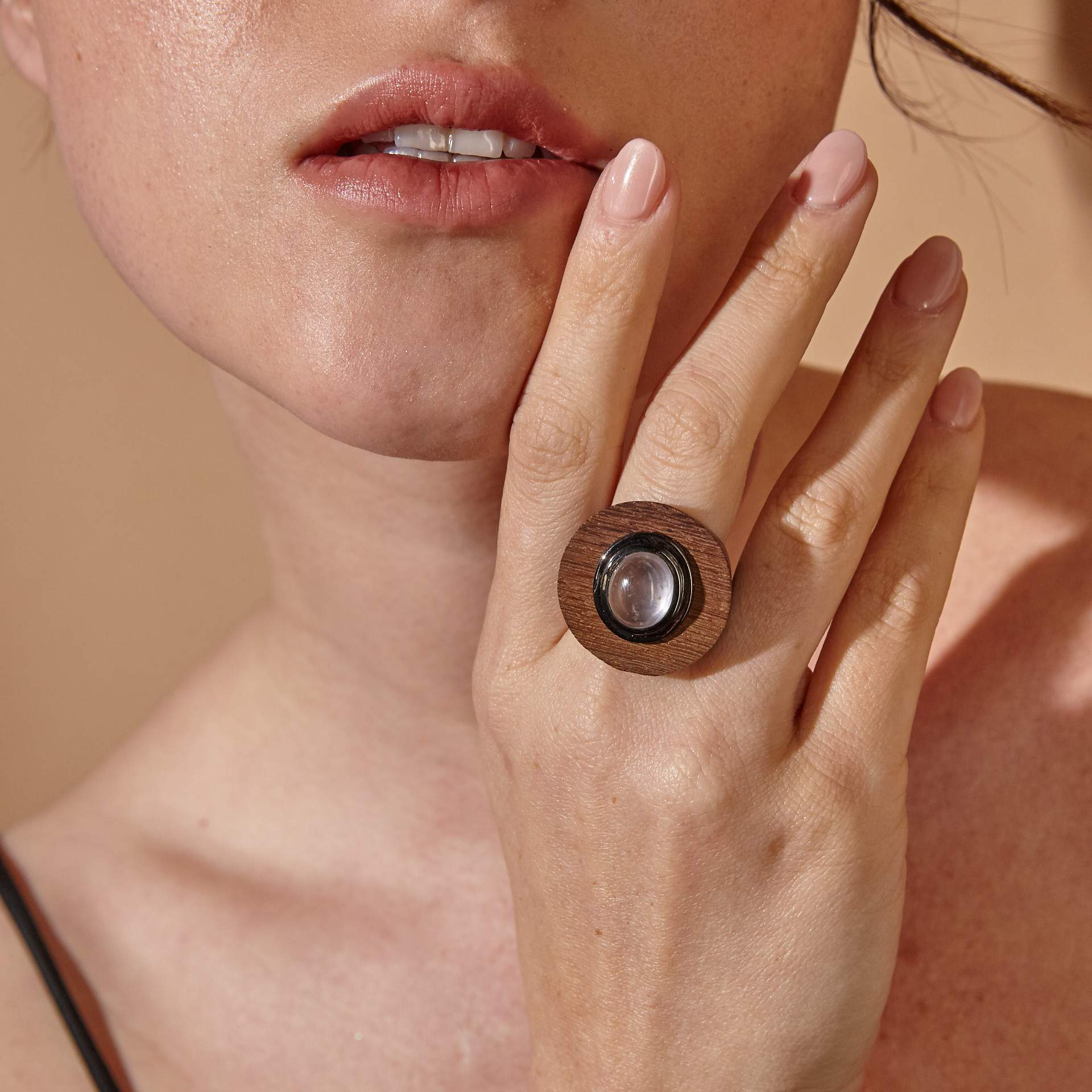 Daha Rose Quartz Wood Ring