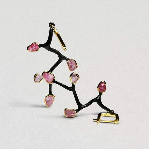 Earlina Earrings, Anthracite, black, Gold, Handmade, Spinel, spo-disabled, StoneColor:Pink, Style:Fantasy, Type:BlackAnthracite Earrings