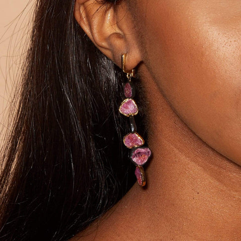 Aniera Earrings, Anthracite, black, Gold, Handmade, Ruby, Sapphire, spo-disabled, StoneColor:Pink, Style:Everyday, Type:StoneCandyDelicate Earrings