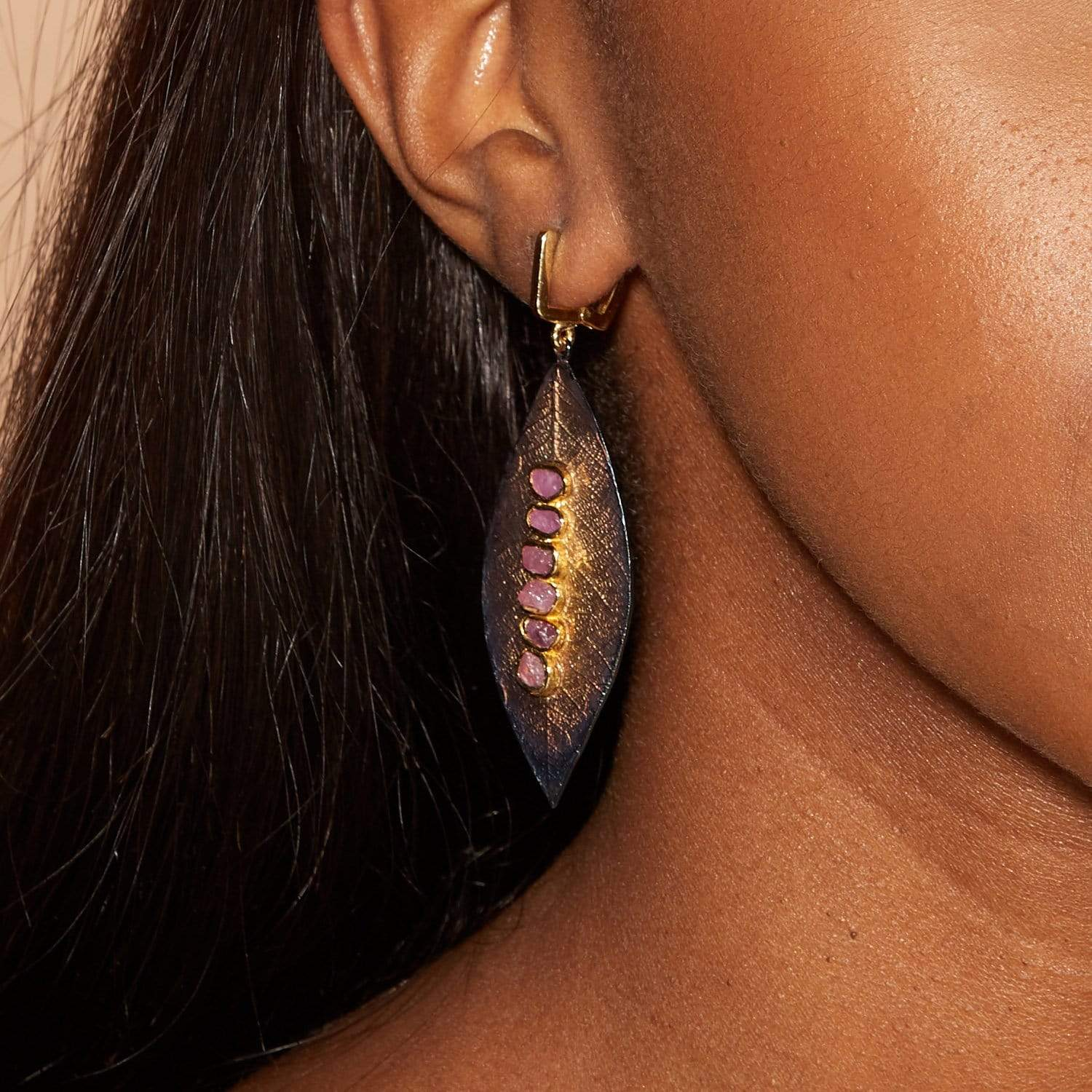 Ilene Earrings, Anthracite, black, Gold, Handmade, Ruby, spo-disabled, StoneColor:PinkRuby, Style:Fantasy, Type:StoneCandyScattered Earrings