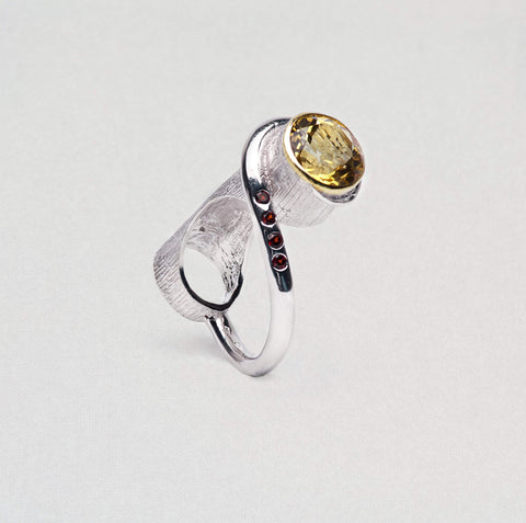 Varinia Ring, Citrine, Garnet, Gold, Rhodium, Serial, silver, spo-disabled, StoneColor:Orange Ring