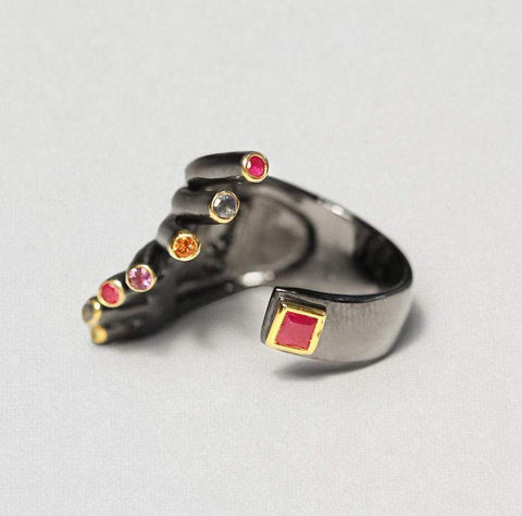 Maxima Ring, Amethyst, Gold, gray, Rhodium, Serial, spo-disabled, StoneColor:MixedColor Ring