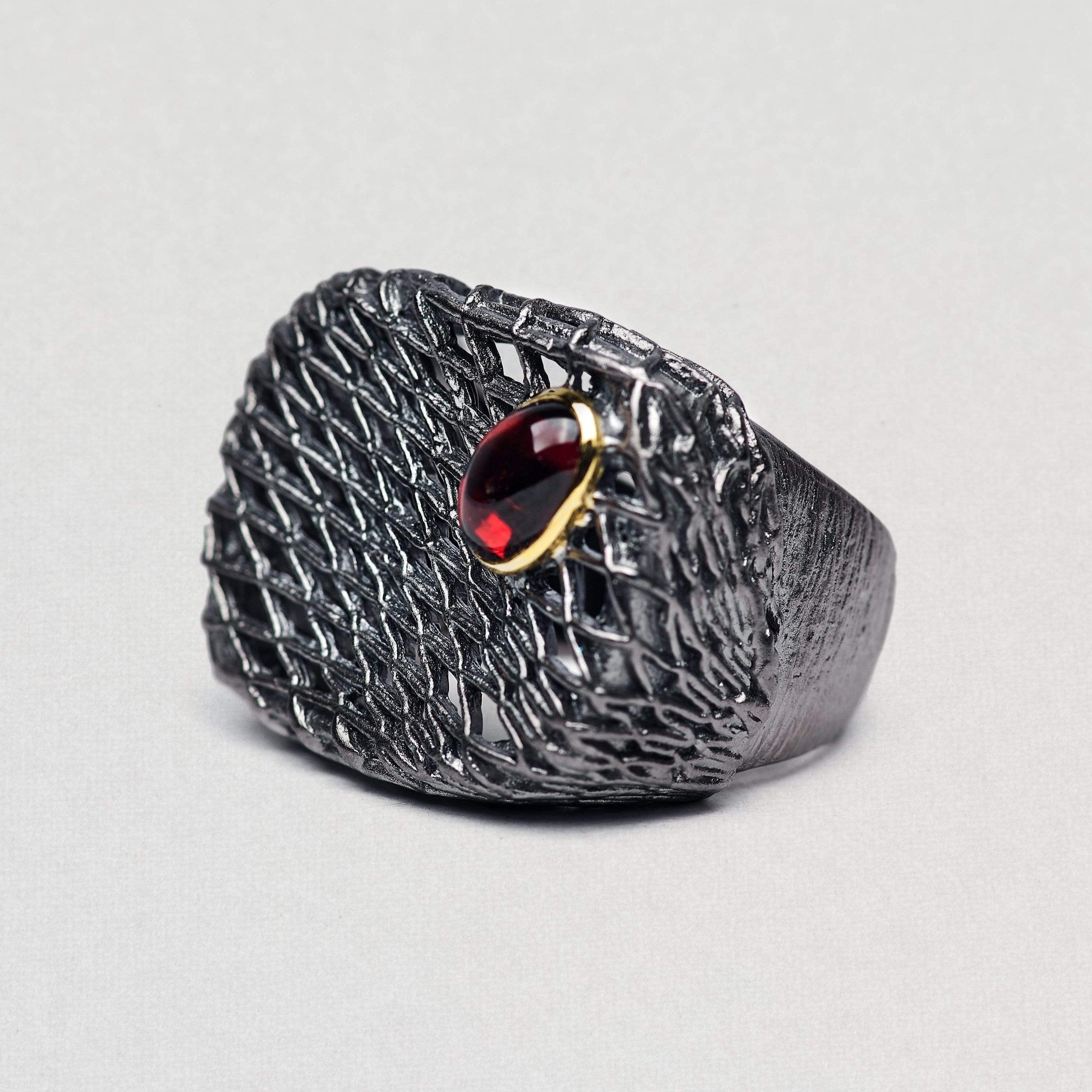 Octania Ring, Garnet, Gold, gray, Rhodium, Serial, spo-disabled, StoneColor:Red Ring