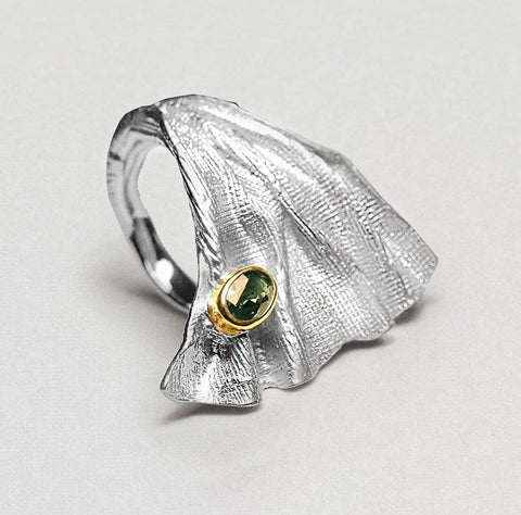 Zelina Ring, Gold, Rhodium, Sapphire, Serial, silver, spo-disabled, StoneColor:Green Ring