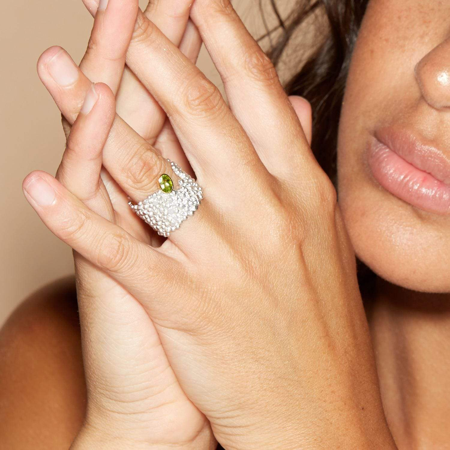Ouida Ring, Gold, Peridot, Rhodium, Serial, silver, spo-disabled, StoneColor:Green Ring