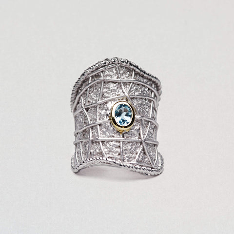 Corinthia Ring, Gold, Rhodium, Serial, silver, spo-disabled, StoneColor:Blue, Topaz Ring