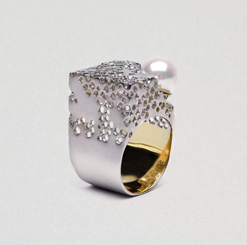 Devonia Ring, Gold, Pearl, Rhodium, Serial, silver, spo-disabled, StoneColor:White Ring