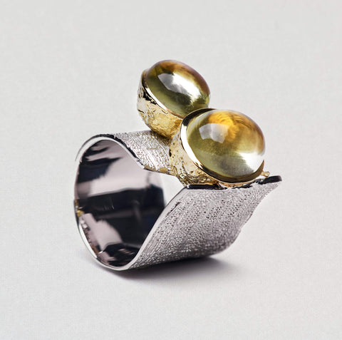 Elmina Ring, Gold, Quartz, Rhodium, Serial, silver, spo-disabled, StoneColor:Yellow Ring