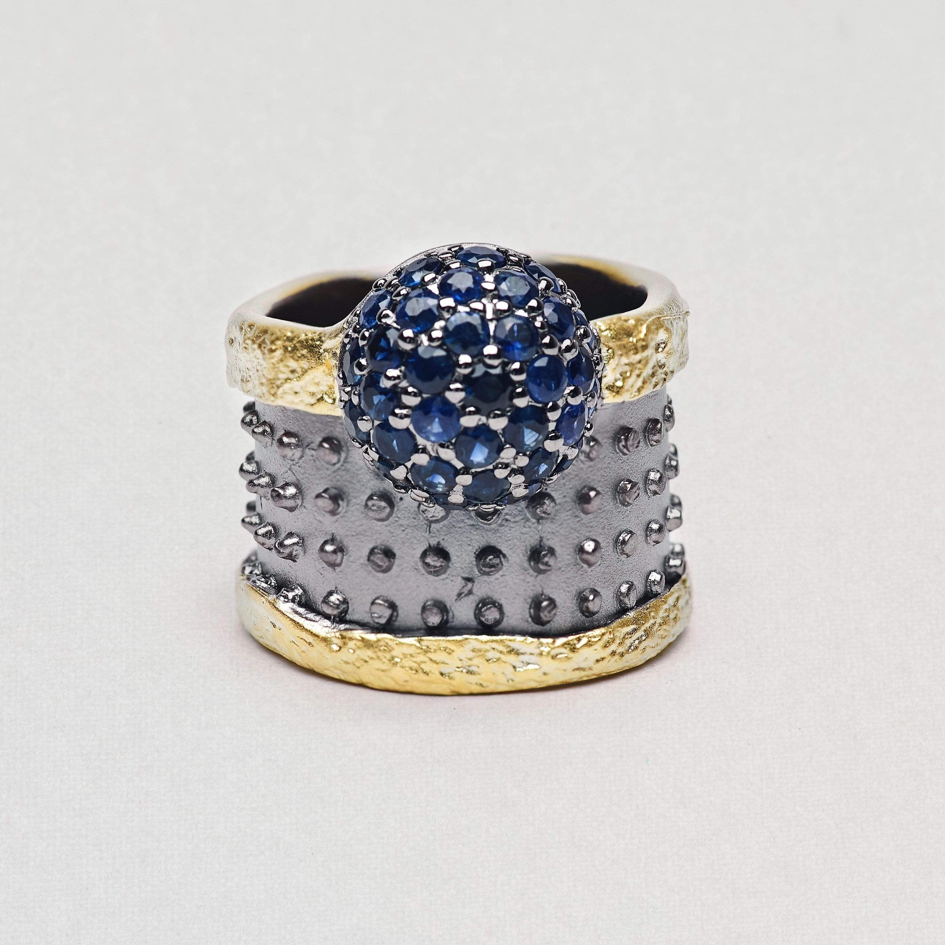 Leonarda Ring, Gold, gray, Rhodium, Sapphire, Serial, spo-disabled, StoneColor:DeepBlue Ring