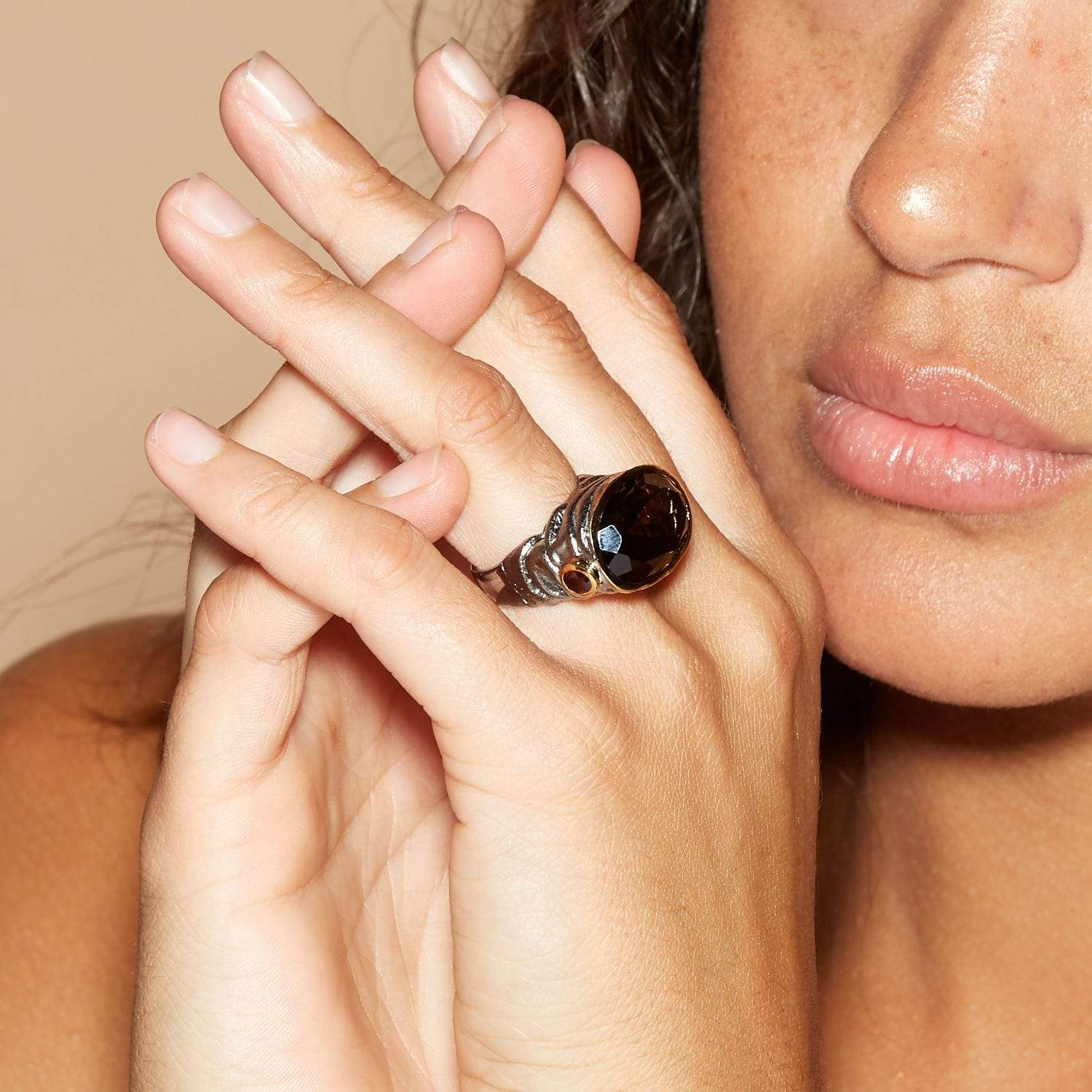 Gliese Ring, Garnet, Gold, gray, Quartz, Rhodium, Serial, StoneColor:Coffee, StoneColor:Red Ring