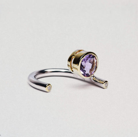 Gilda Ring, Amethyst, Gold, Rhodium, Serial, silver, spo-disabled, StoneColor:purple, Zirconia Ring