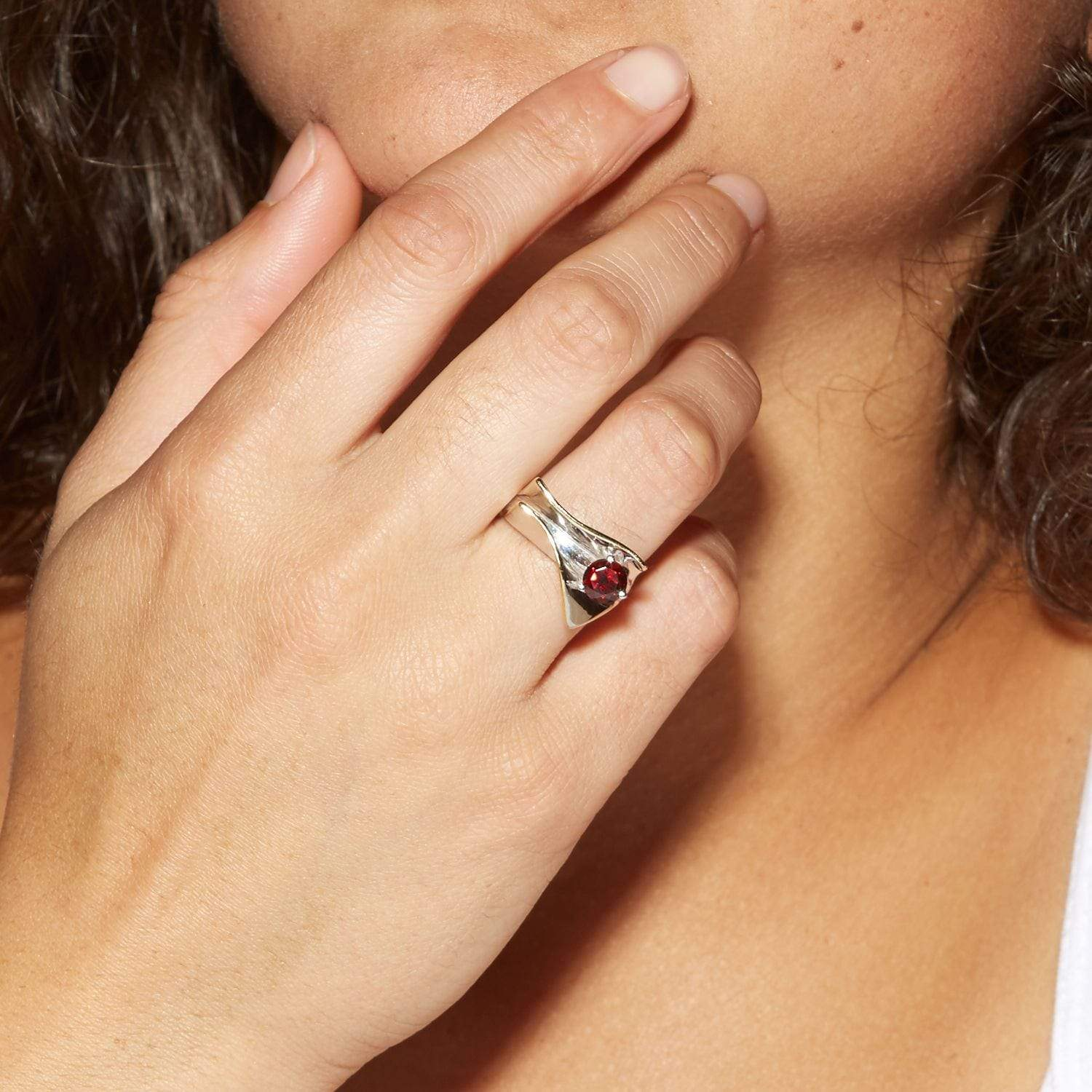 Eloise Ring, Garnet, Gold, Rhodium, Serial, silver, spo-disabled, StoneColor:Red Ring