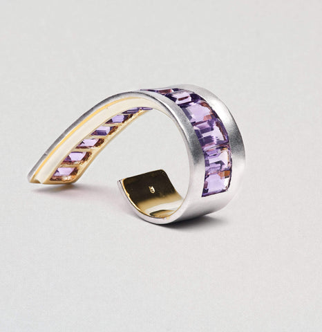 Anala Ring, Amethyst, Gold, Rhodium, Serial, silver, spo-disabled, StoneColor:purple Ring