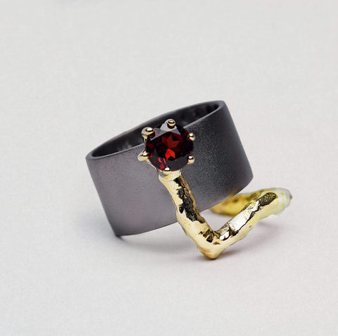 Rowena Ring, Garnet, Gold, gray, Rhodium, Serial, spo-disabled, StoneColor:Red Ring