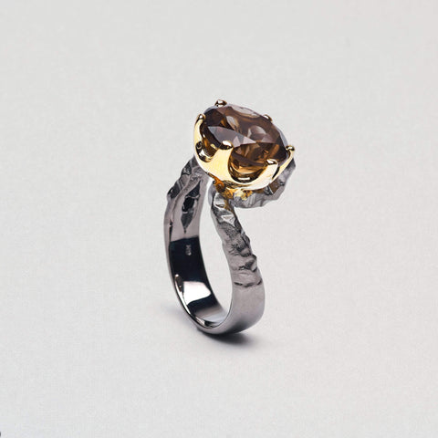 Serilda Ring, Gold, gray, Quartz, Rhodium, Serial, spo-disabled, StoneColor:Coffee Ring